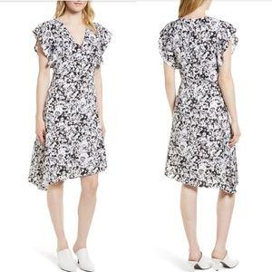 Lewit size 8 floral Assymetrical silk dress